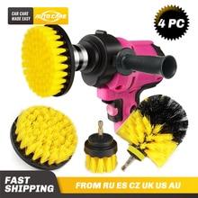 3Pcs/6Pcs Electric Scrubber Brush Drill Brush Kit Plastic Round Cleaning Brush Car Tires Nylon Brushes 2/3.5/4'' For Carpet
