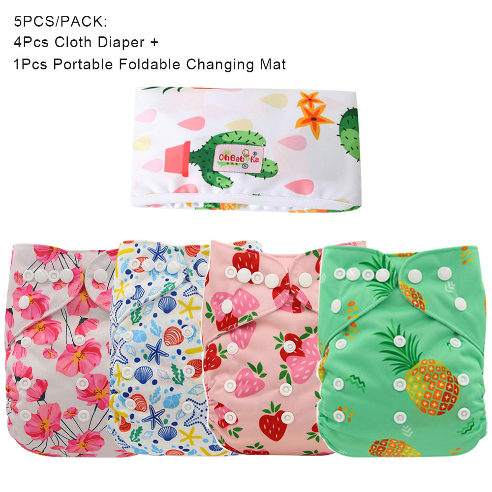 Ohbabyka Travel Foldable Portable Baby Changing Pad Baby Cloth Diaper Changing Mat Boys Girls Nappy Cover 5PCS/PACK