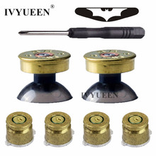 IVYUEEN Brass Bullet Buttons Mod Kit For Sony Dualshock 4 PS4 DS4 Pro Slim Controller Analog Thumb Sticks Cap with Action Button