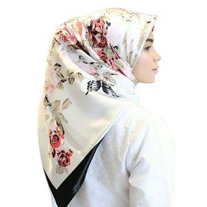 Мусульманский хиджаб, Женский шелковистый атласный квадратный платок, шарф, винтажный цветочный исламский головной убор, многофункциональ...