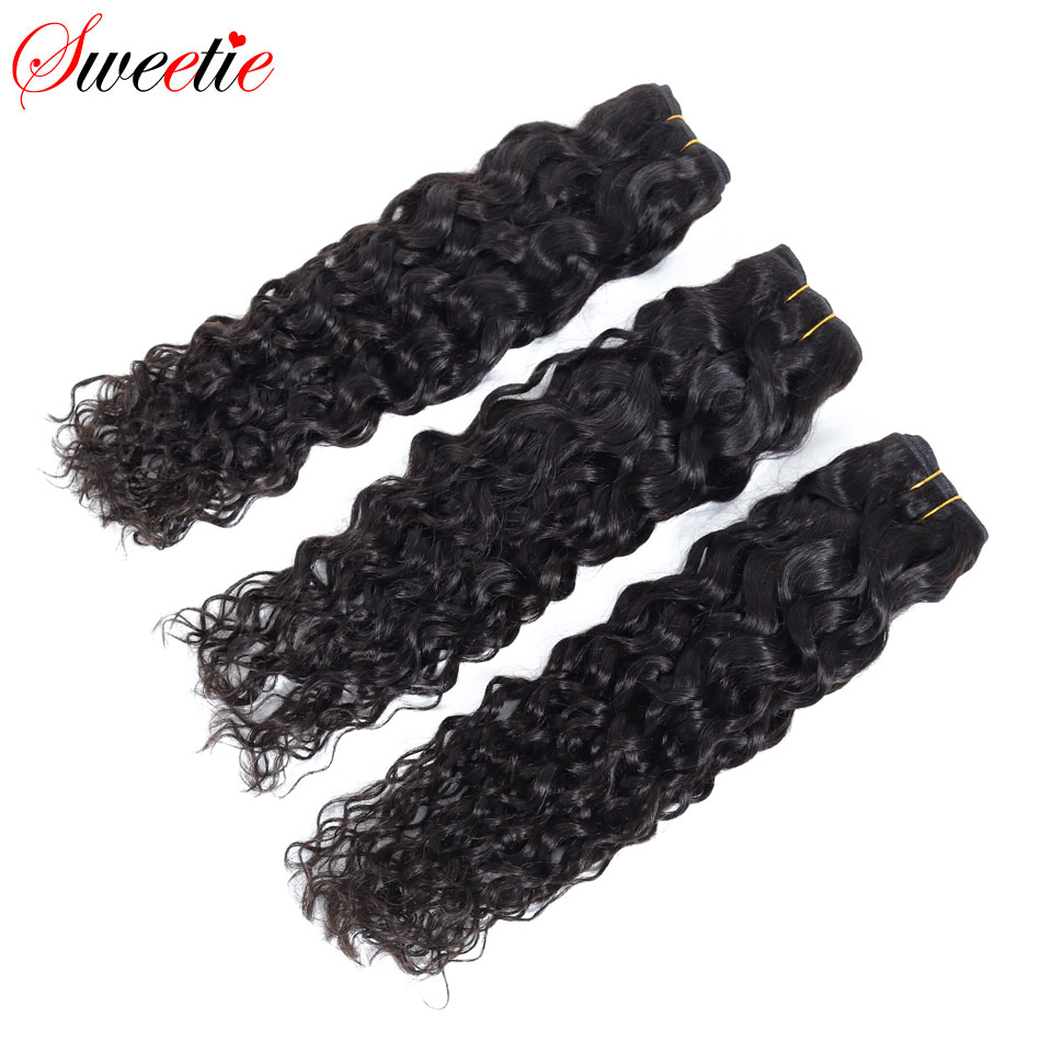 "Image 4 - Sweetie Water Wave Bundles Indian Hair Extensions 8"" 28"" Natural Black Human Hair Weave Bundles 1/3/4 Pieces Non Remy Hair-in Hair Weaves from Hair Extensions & Wigs"