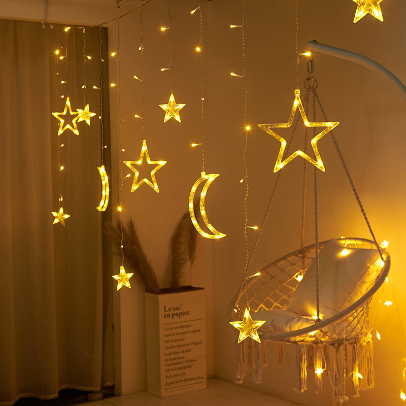 Moon Star LED Curtain Lights 220V EU Plug Fairy Christmas Garlands Outdoor Decoration Holiday Festival LED Twinkle String Lights