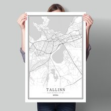 Black and White World City Map Estonia Tallinn Saku Tartu Viljandi Living Room Home Decor Wall Art Pictures Canvas Paintings