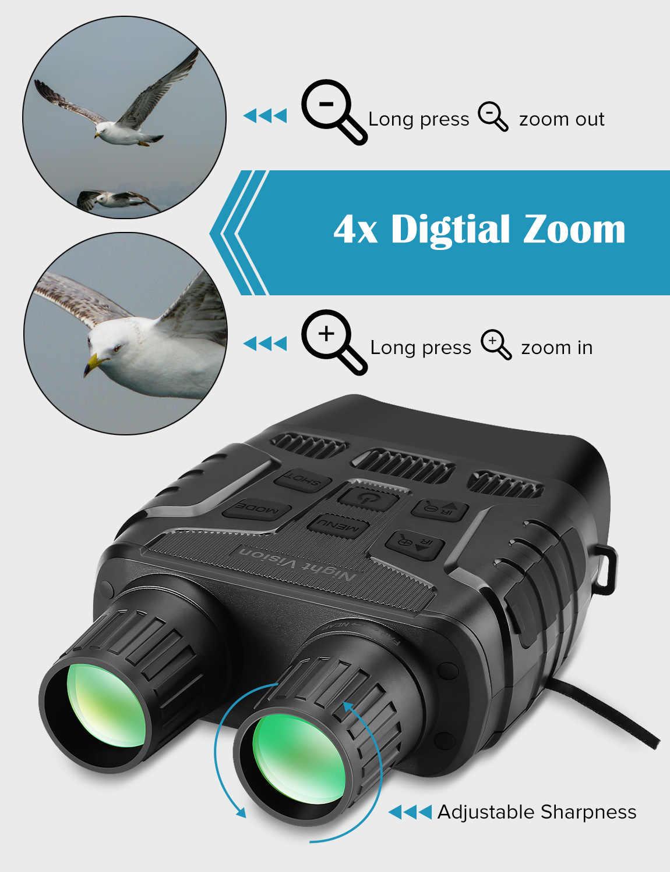 Dispositivo di Visione notturna Binocolo 300 Metri Digitale IR Telescopio Ottica Zoom con 2.3 'Schermo di Foto di Registrazione Video Macchina Fotografica di Caccia