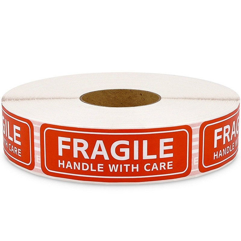 500PCS Roll / 1 X 3 Inch Fragile Warning Vinyl Label Sticker With Caution Label Sticker Red