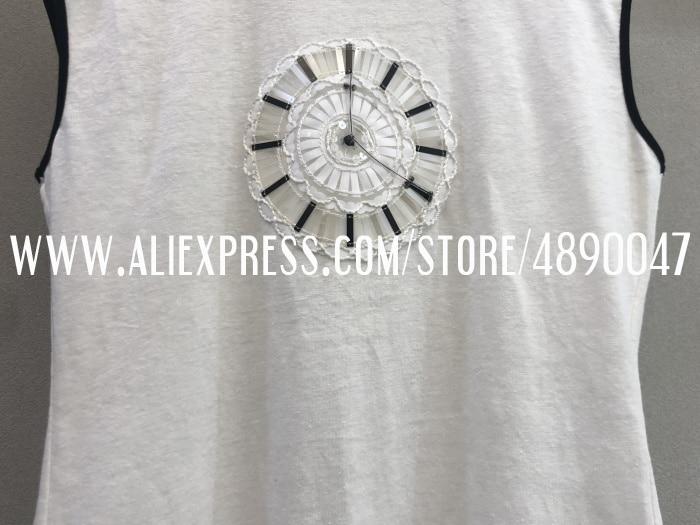 Тонкая футболка из смеси льна, женская футболка ручной работы с бисером, Повседневная модная Высококачественная уличная одежда, топ без рукавов