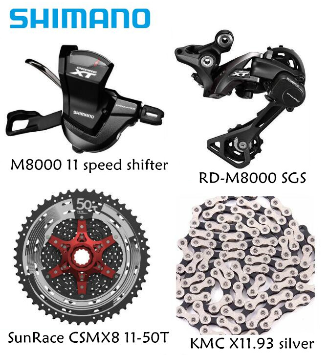 Shimano XT M8000 4pcs bike bicycle mtb 11 speed kit KMC chain 11-46T 11-50T Groupset RD-M8000 Shifter with SunRace cassette K7(China)