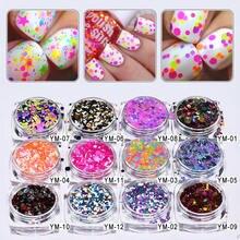 12 коробок/партия 1 мм 2 3 яркие цвета блестки для дизайна ногтей