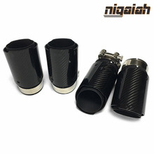 Universal Car styling Exhaust Tail Pipes Glossy Carbon Fiber Muffler Tip Tail End Stainless Steel Black For Bmw E90 63mm Inlet