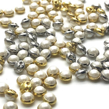 100pcs Cross-Hole Pearl Buttons Sewing Costumes Button Crafts Decoration Pearl DIY Jewelry Accessories 100pcs lot 3 20colors diy polyester fluffy ballerina chiffon flower with pearl button in centre handmade accessories
