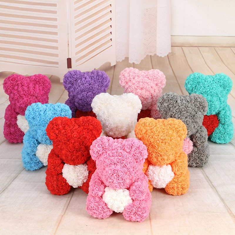 50/100/200 Pieces Teddy Bear of Roses Artificial Flowers For Wedding Decoration Indoor 1