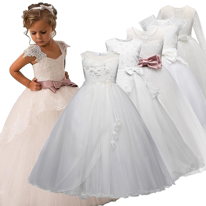 Flower Girl Dress 4-12 Yeas Kids Girls Long White Lace Christmas Party Fancy Children Gown Prom Teenage Princess Girl Clothes