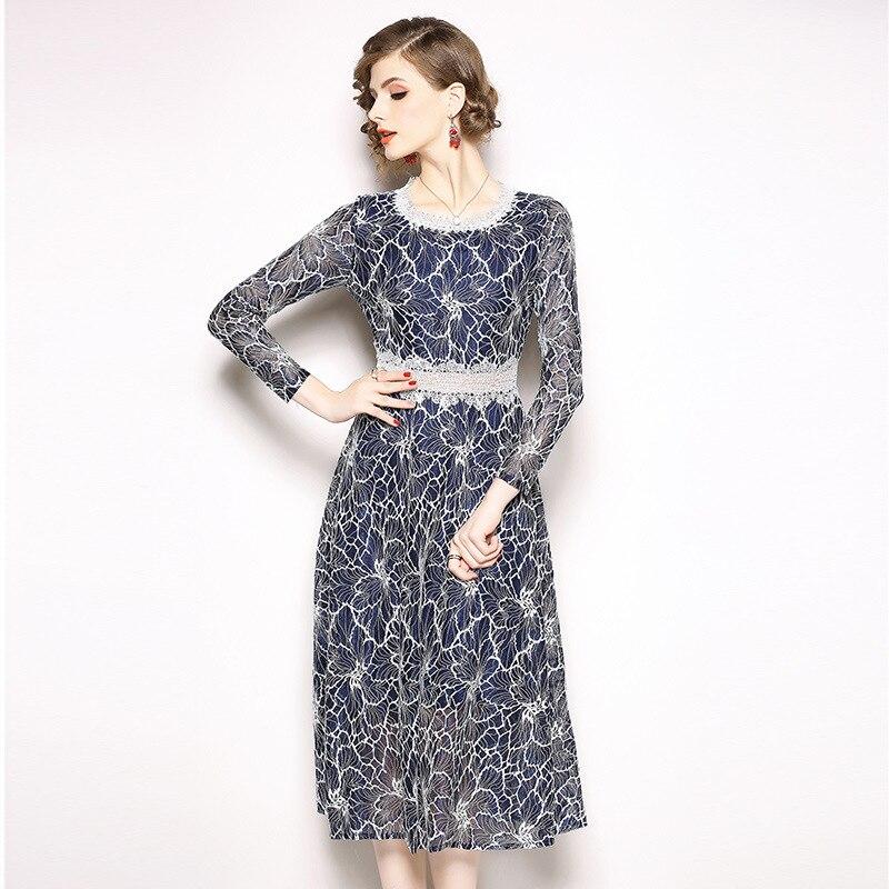 2019 Spring New Style WOMEN'S Dress Crocheted Flowers Pierced Medium-length Lace Skirt Elegant Hot Selling Long-sleeved Dress