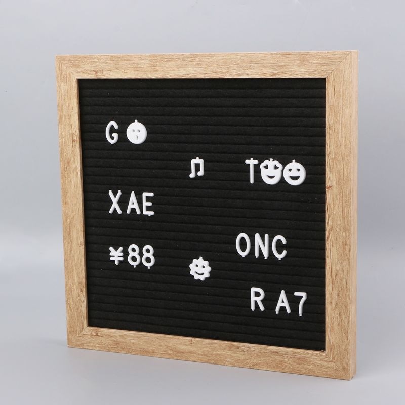 25.5*25.5 Cm Felt Letter Board 10x10 Inch Retro Wood With 340 White Letters Numbers And Bag