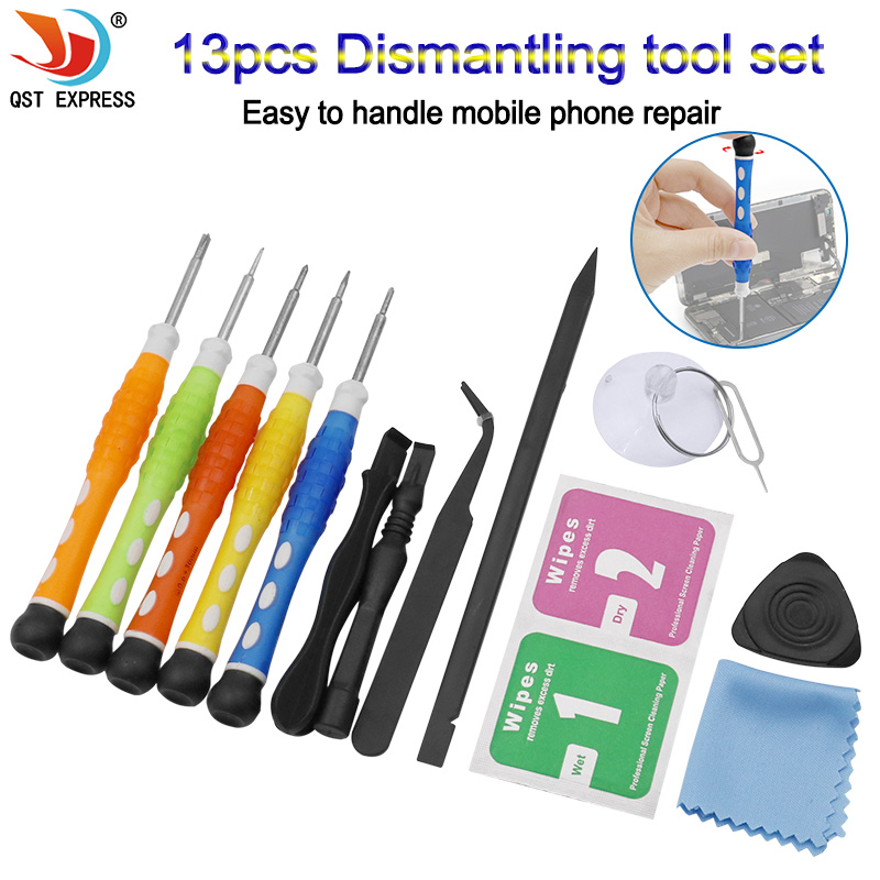 13-in-1 mobile phone repair tools disassembly pry bar suction cup screwdriver hand tool set