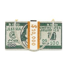Кошелек клатч со стразами 10000 долларов вечерние сумочки