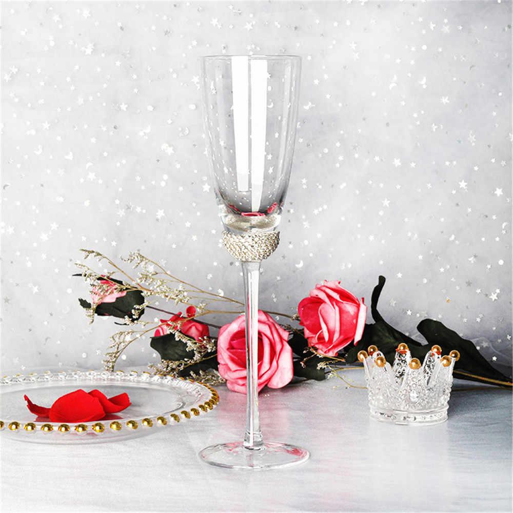Pha Lê Sang Trọng Kim Cương Rượu Thủy Tinh Goblets Champagne Sáo Kính Cốc Uống Nước Đảng Cưới Toasting Kính Nhà Drinkware 1 PC