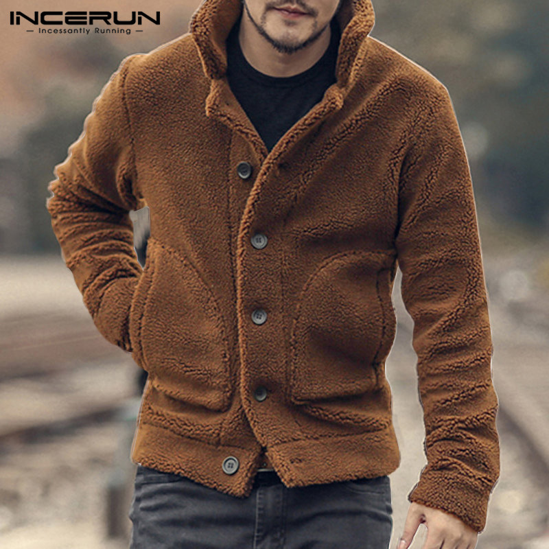 INCERUN Men Fleece Trench Coats Streetwear Long Sleeve Solid Lapel Outerwear Button Up Fluffy Fashion Winter Plush Overcoats Men