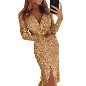 Hot Women Clothes Bodycon Dresses New Ladies Bronzing Long-sleeved V-neck Bright Sparkling Vestidos Dinner Sexy Dress TL34