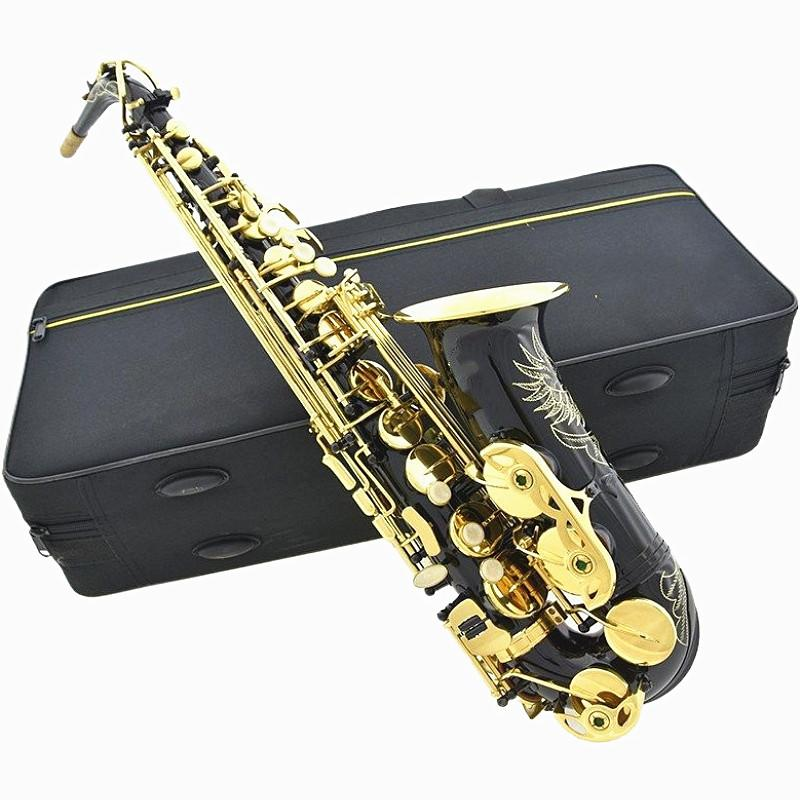 New Woodwind Instrument Eb Alto Saxophone Sax Brass Lacquered Gold Type with Padded Carry Case Gloves Cleaning Cloth