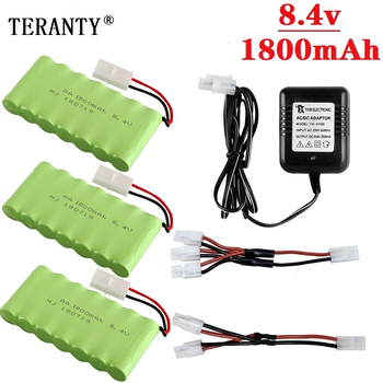 ( M Model ) Ni-MH 8.4v 1800mah Battery + 8.4v Charger For Rc toy Car Tank Train Robot Boat Gun AA 8.4v Rechargeable Battery Pack image