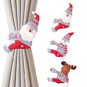 Curtain-Decor Navidad Merry Elk Windows Christmas-Gifts Happy Santa-Claus New-Year Home