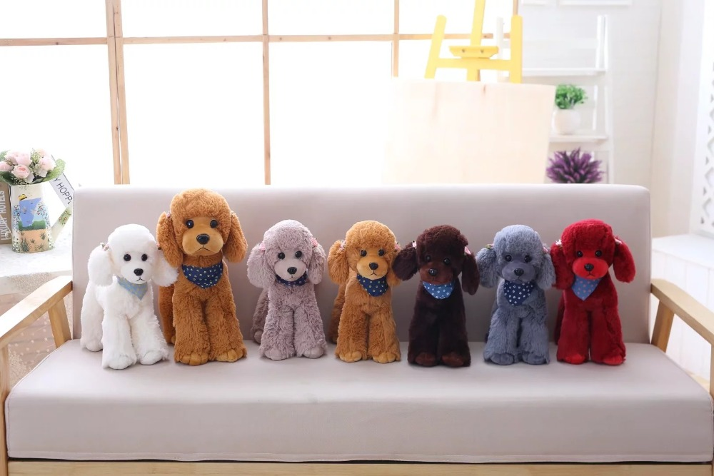 Cute Poodle Teddy Dog Simulation Stuffed Animal Plush Toy Girls Birthday Gift Home Decoration