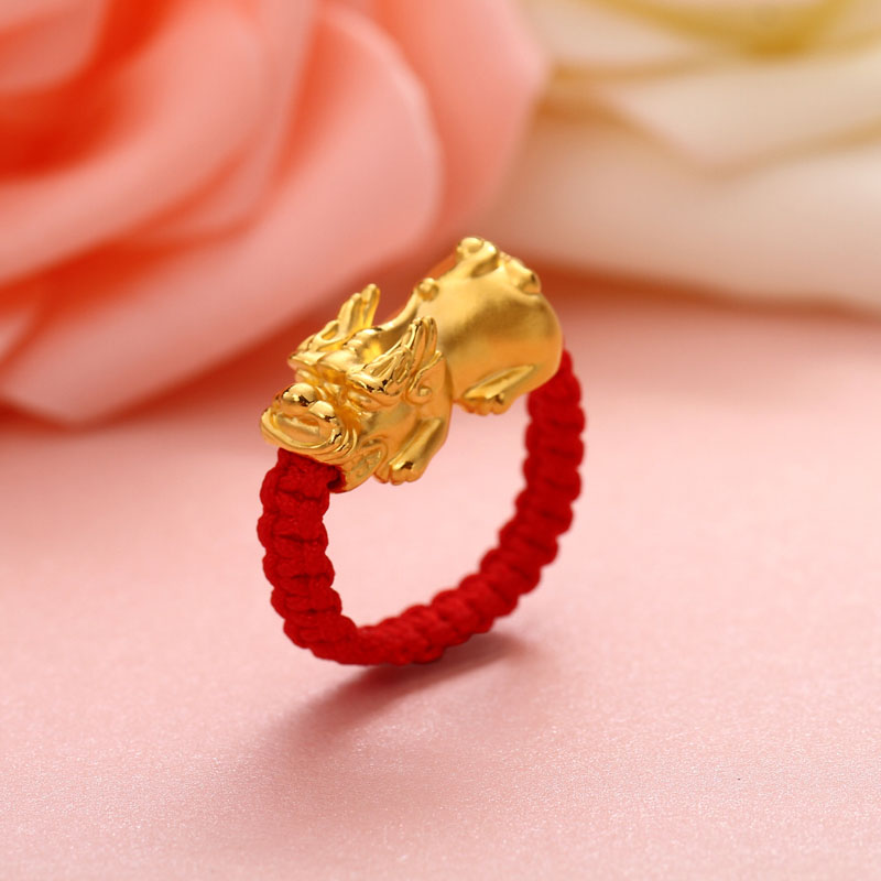 Droppshiping Lucky Red Rope Woven <font><b>Ring</b></font> Golden Brave Troops Amulet <font><b>Ring</b></font> <font><b>Buddhist</b></font> Jewelry d88 image