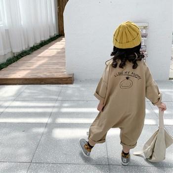 Wiosenne jesienne kombinezony dziecięce koreańskie kombinezony dziewczęce kombinezony chłopięce z długim rękawem modne stroje dla 1-5 lat kombinezony dziecięce tanie i dobre opinie HPBRZNF CN (pochodzenie) COTTON Unisex Przycisk fly List Luźne G0558 Pasuje prawda na wymiar weź swój normalny rozmiar