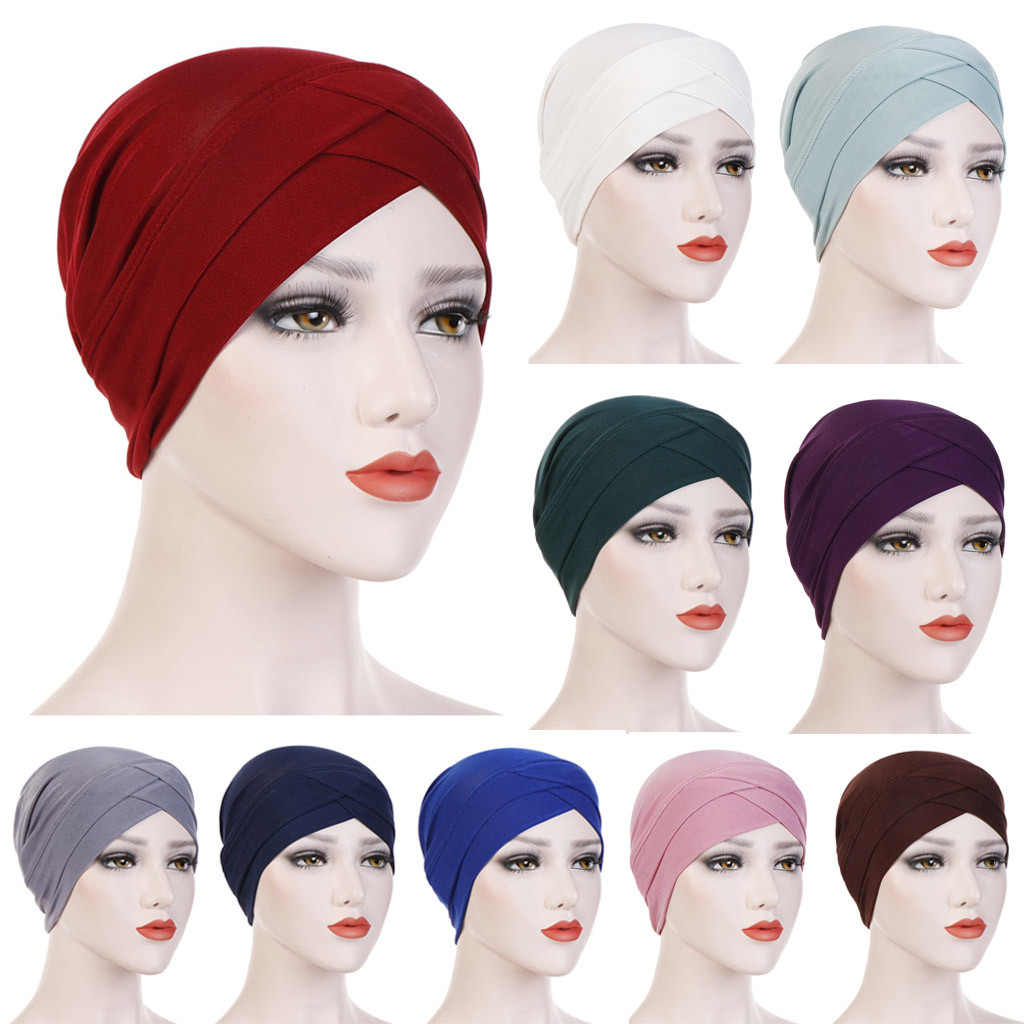 Women Solid India Hat Muslim Ruffle Cancer Chemo Beanie Turban Wrap Scarf Cap Beanie Czapka Zimowa Hats Caps Winter Gorro Muts