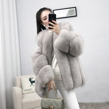 genuine leather fur coat real fur fox