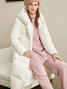 Image 3 - Amii зимняя одежда на белом утином пуху, новая зимняя свободная шапка с наклонными пуговицами, теплая длинная одежда для хлеба, 11970463