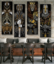 Nordic samurai lion Posters and Prints Canvas Art Painting Wall Art personality Decorative Picture Industrial Loft style Decor