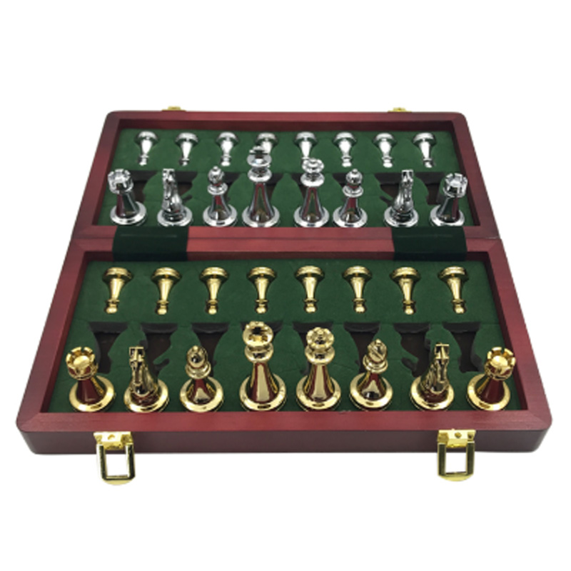 Easytoday металлический глянцевый золотой и серебряный Шахматный набор из твердых деревянных складных шахматных досок высококачественный про