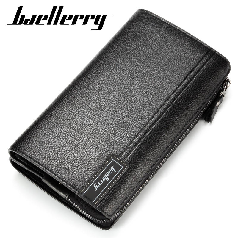 Baellerry Large Capacity Men Wallets Long Wallet Cell Phone Pocket Card Holder Men Clutch Bag High Quality Business Purse Wallet
