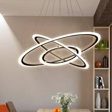 цена Modern LED Pendant Lights For Living Room With Remote Control Black Circle Home Bedroom Fixtures Suspension Hanging Lamps  в интернет-магазинах