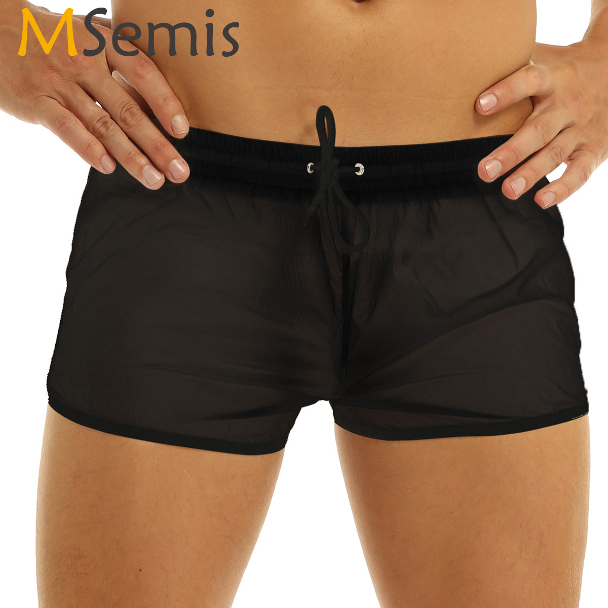 Mens Boxer Shorts See Through Shorts Fabric Drawstring Lightweight Boxer Shorts Panties Casual Swimming Wear Shorts Sleepwear