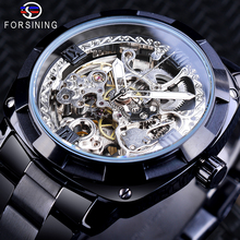 Forsining Black Transparent Mechanical Mens Watch Automatic Skeleton Gear Stainless Steel Strap Business Watches Relojes Hombre