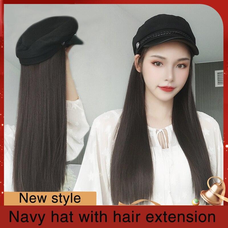 MUMUPI-perruque naturelle bouclée/lisse | Perruque longue avec chapeau de la Navy, extension capillaire résistante à la chaleur pour femmes