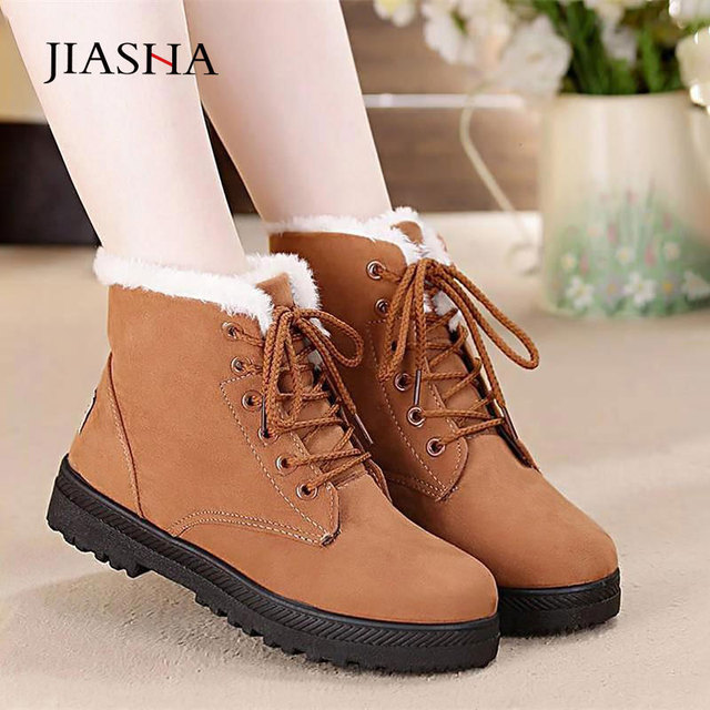 Snow boots warm fur plush Insole women winter square heels flock ankle shoes 2