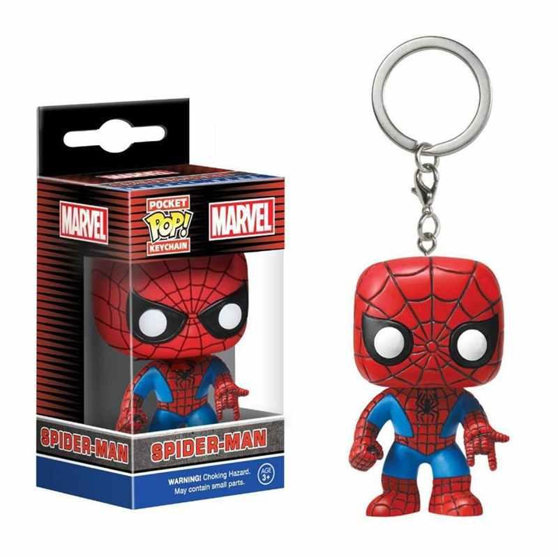 Funko POP Saku Pop Gantungan Kunci Marvel Avengers Captain America Iron-Man Spider-Man Action Figure Hal-hal Aneh Deadpool