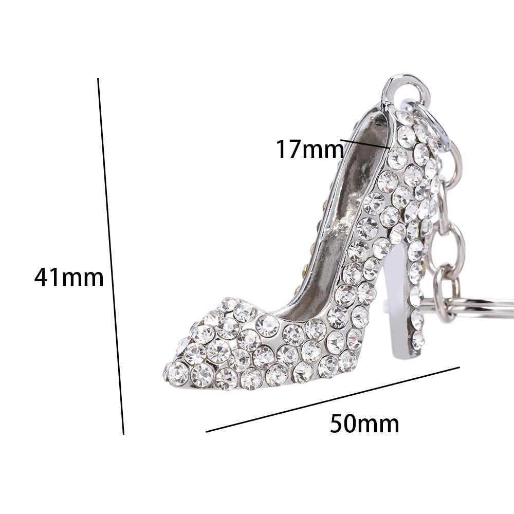 Zapatos de tacón alto llavero de Metal de diamantes de imitación llavero brillante bolso colgante llavero Día de San Valentín regalo mujeres niñas joyería