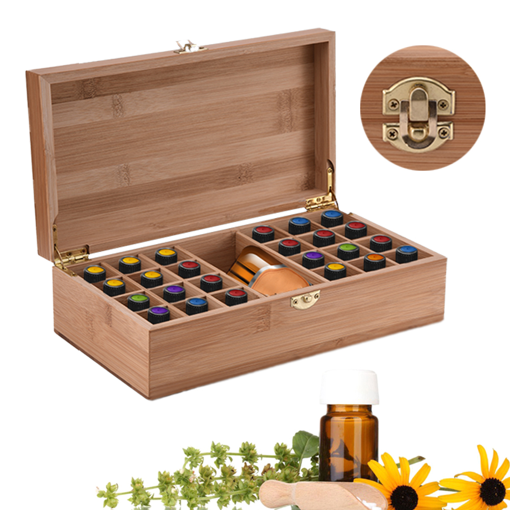 High End Bamboo Essential Oil Box With 25 Grids DIY Protective Wooden Storage Case For Artistic Ornament Decorative Gift