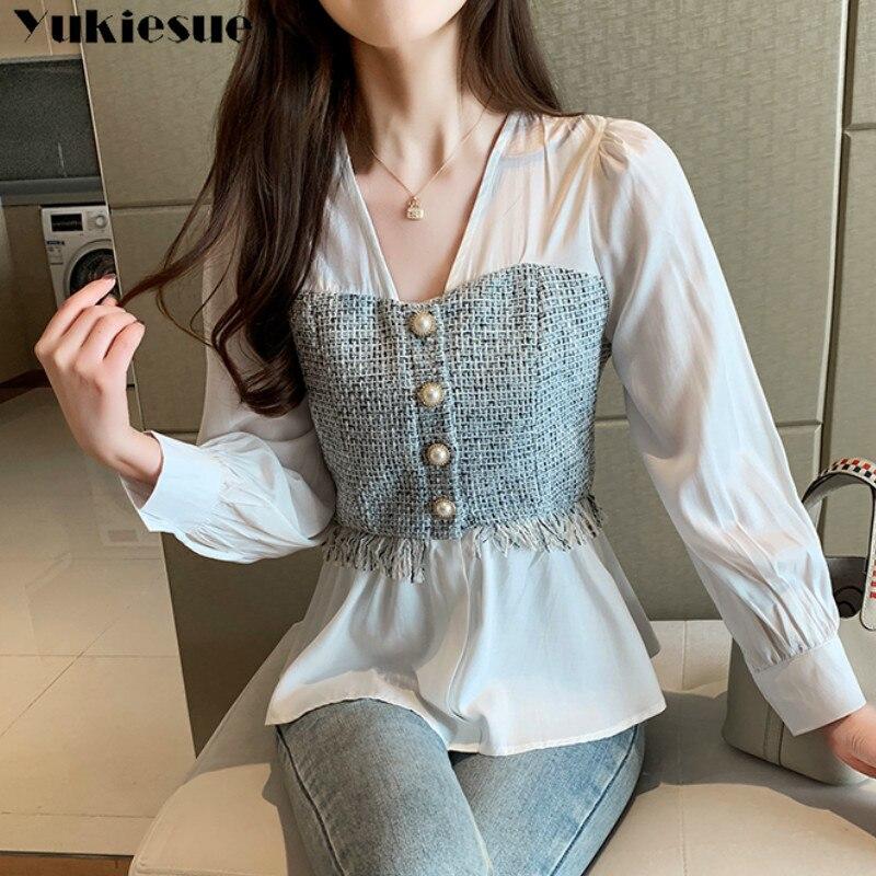 Plus Size Solid White Long Sleeve Shirt Fashion Office Lady Tops Korean Style Women Spliced Chiffon Blouse V-neck Feminina Shirt