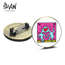 Sian Keith Haring Pop Art Bros Abstrak Keith Haring Klasik Graffiti Koleksi Glass Cabochon Dekorasi Logam Bros Pin(China)