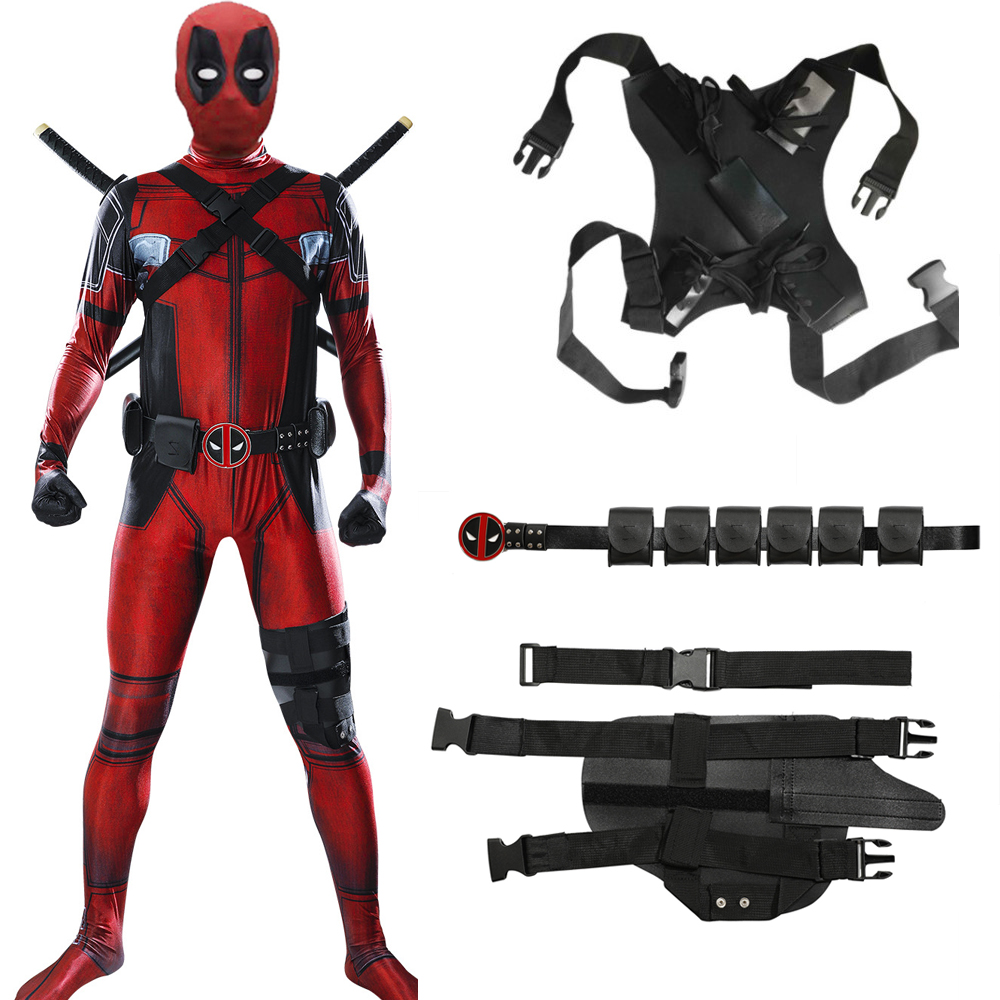 Free Shipping Kid Deadpool Costume With Mask Superhero Cosplay Suit Boy One Piece Full Bodysuit Halloween Kid Costumes For Party