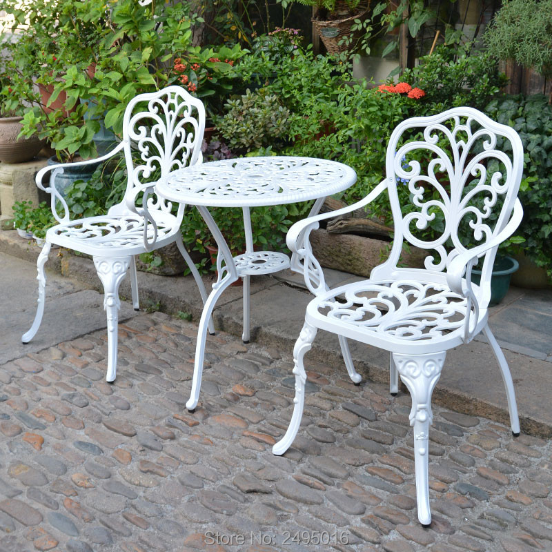 Arm Dining Chairs Set Patio Furniture Cast Aluminum Bistro Set Table 59cm In Whie Color Outdoor And Door Use