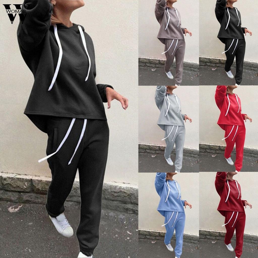 Womail Tracksuit Women Sweatsuit Set Sportswear Long Sleeve Hooded 2Pcs Sweatshirt+ Long Pants 2 Pieces Suits Casual Wear 816
