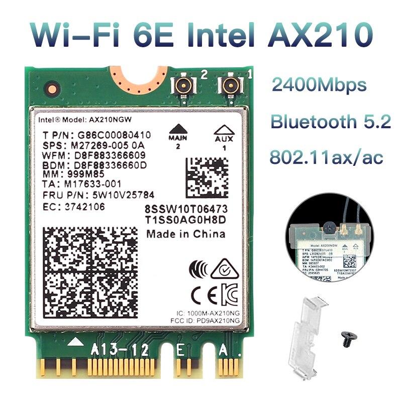 3000 Мбит/с Wi-Fi 6E Intel AX210 Bluetooth 5,2 NGFF M.2 беспроводная Wi-Fi 6 карта 802.11AX AX210NGW 2,4G/5 ГГц 6 дБи антенны для Windows10