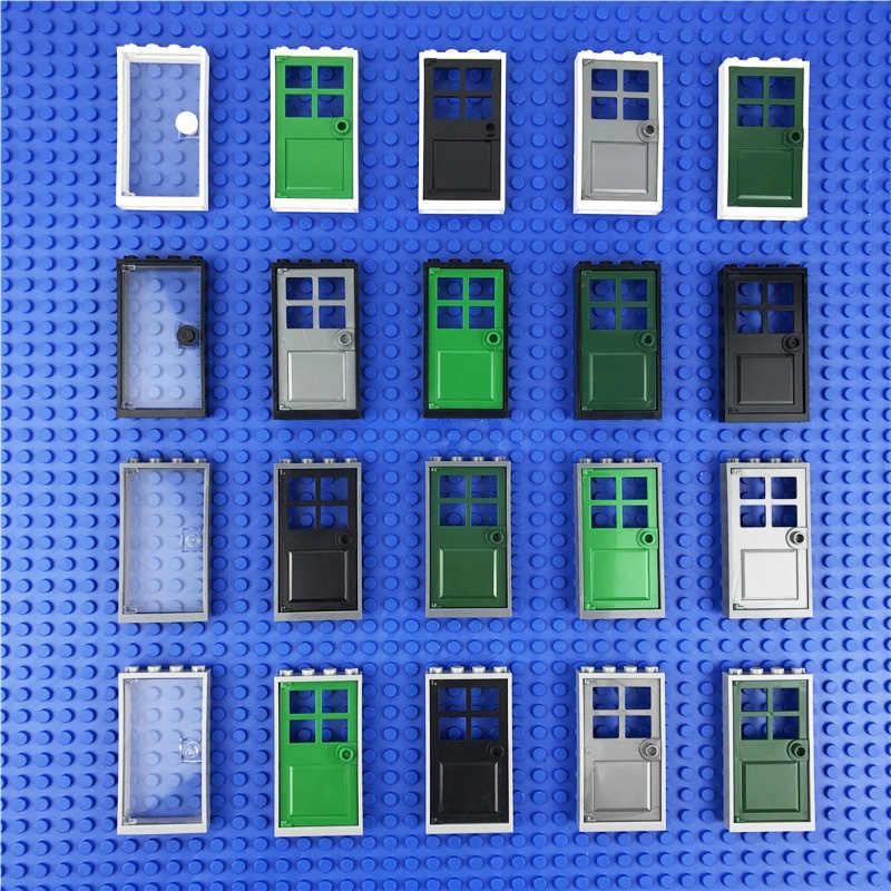 Stadt Häuser Tür Zubehör Bausteine Kreative Haus Teile Transparent Glas Windows Tür MOC Ziegel Freunde Spielzeug Kinder
